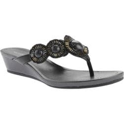 Women's Bandolino Briah Wedge Sandal Black Synthetic