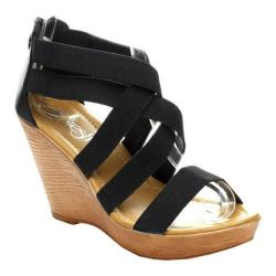Women's Beston Jucy-01 Strappy Wedge Sandal Black Fabric