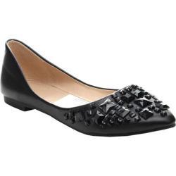 Women's Beston Julia-75 Pointed Flats Black Faux Leather