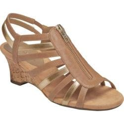 Women's Aerosoles Half Dozen Sandal Tan Gold Faux Leather/Metallic