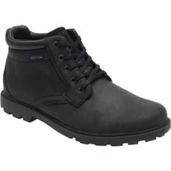 Men's Rockport Rugged Bucks Waterproof Plain Toe Boot New Black Leather