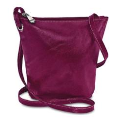 Women's David King Leather 3518 Florentine Top Zip Mini Bag Fuschia