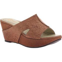 Women's OTBT Hannibal Wedge Sandal Tawny Brown Leather