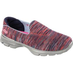 Women's Skechers GOwalk 3 FitKnit Extreme Walking Shoe Navy/Coral