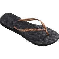 Women's Havaianas Slim Logo Metallic Flip Flop Black/Copper