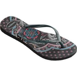 Women's Havaianas Slim Thematic Flip Flop Black/Graphite