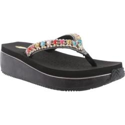 Women's Volatile Shinebright Wedge Sandal Black Leather