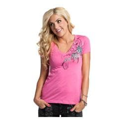 Women's Metal Mulisha Ditzy Vneck Tee Hot Pink