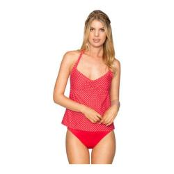 Women's Swim Systems Halter Tankini with Removable Cup Mod Dot Red