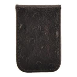 Men's Budd Leather Ostrich Printed Calf Magnetic Money Clip 4101 Black
