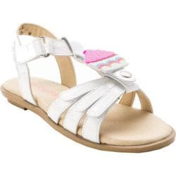 Girls' Bumbums & Baubles Allie Sandal White/Pearl Leather