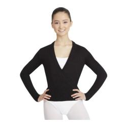 Women's Capezio Dance Harmonie Long Sleeve Wrap Sweater Black