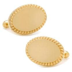 Men's Cufflinks Inc 14K Gold Plated Rope Oval Engravable Cufflinks Gold