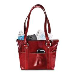Women's David King Leather 3543 Florentine 6 Pocket Shopper Red