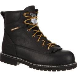 Men's Georgia Boot GB00002 6in Low Heel Logger Lace-To-Toe Steel Toe Black Leather
