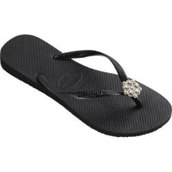 Women's Havaianas Slim Crystal Poem Flip Flop Black/Dark Grey