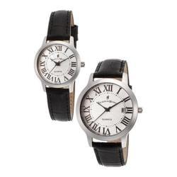 Men's Jacques du Manoir JDUMANOIR-98167G-98166L-SET Black Genuine Leather/Silver
