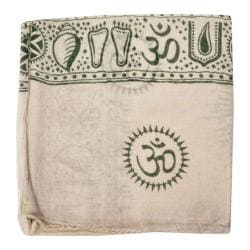 OmSutra Prayer Shawl White Base Green