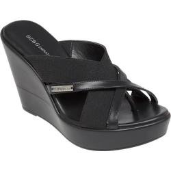 Women's BCBGeneration Quest Wedge Sandal Black Stretch Elastic