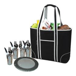 Picnic at Ascot Large Insulated Picnic Tote for Four Black