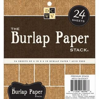 "Burlap Covered Cardstock Paper Stack 6""X6"" 24/Sheets-Natural"