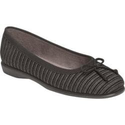Women's Aerosoles Teashop Flat Dark Grey Stripe Fabric
