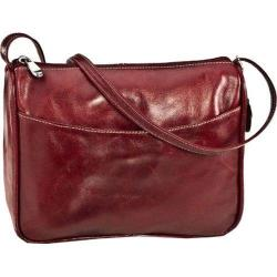 Women's David King Leather 3525 Florentine Top Zip Open Front Pocket Red