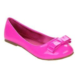 Girls' Beston Rosa Bow Ballet Flat Magenta Faux Leather