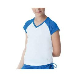 Girls' Fila Spirit Cap Sleeve Top White/Royal Spirit