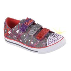Girls' Skechers Twinkle Toes Chit Chat Skipping Stars Light Up Charcoal/Multi