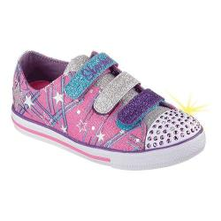 Girls' Skechers Twinkle Toes Chit Chat Skipping Stars Light Up Hot Pink/Purple