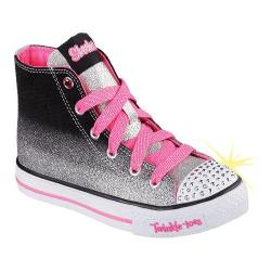 Girls' Skechers Twinkle Toes Shuffles Splendorific Black/Silver/Pink