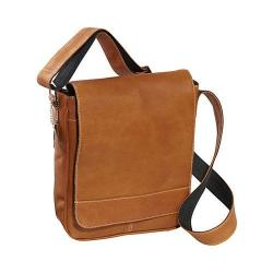 David King Leather 8471 Deluxe Medium Size Flap Over Messenger Tan