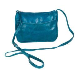Women's David King Leather 3525 Florentine Top Zip Open Front Pocket Blue