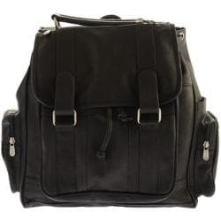 Piel Leather Double Loop Flap-Over Laptop Backpack 3000 Black Leather