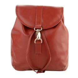 Piel Leather Medium Drawstring Backpack 3019 Red Leather