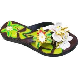 Women's Susan Mango Orchid Painted Leather Flip Flop Green/White/Brown