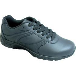 Women's Genuine Grip Footwear Slip-Resistant Athletic Plain Toe Work Shoes Black Leather