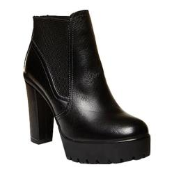 Women's Steve Madden Amandaa Ankle Boot Black Leather/Elastic