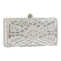 Women's J. Furmani 60239 Hardcase Stone Design Clutch Silver