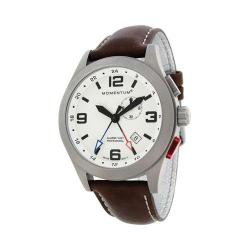 Men's Momentum Watch Vortech GMT Cloud Leather Watch White/Brown Cloud Leather