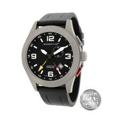 Men's Momentum Watch Vortech GMT Groove Rubber Watch Black/Black Groove Rubber