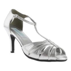 Women's Dyeables Martina T-Strap Silver Shimmer