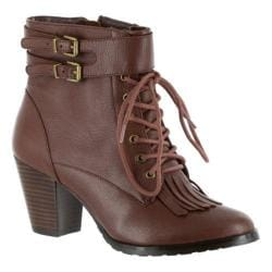 Women's Bella Vita Kody Lace Up Bootie Dark Tan Leather