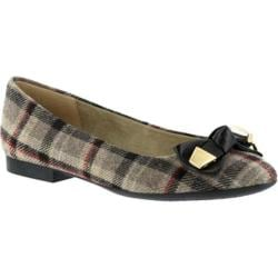 Women's Bella Vita Ozark Bow Ballet Flat Stone Plaid Flannel/Black Leather