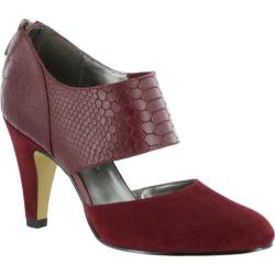 Women's Bella Vita Neola Cut Out Heel Burgundy Suede/Croco Leather
