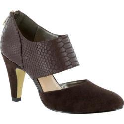 Women's Bella Vita Neola Cut Out Heel Dark Brown Suede/Croco Leather
