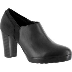 Women's Bella Vita Zofia Stacked Heel Bootie Black Leather/Super Suede/Gore