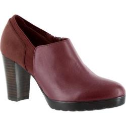 Women's Bella Vita Zofia Stacked Heel Bootie Burgundy Leather/Super Suede/Gore