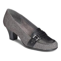 Women's A2 by Aerosoles Culinari Loafer Pump Black Combo Tweed/Faux Leather